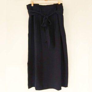 Boden Melina Paperbag Waist Midi Skirt Navy Blue